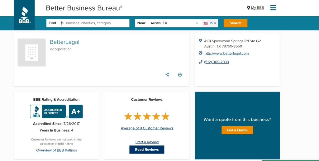 BetterLegal BBB rating