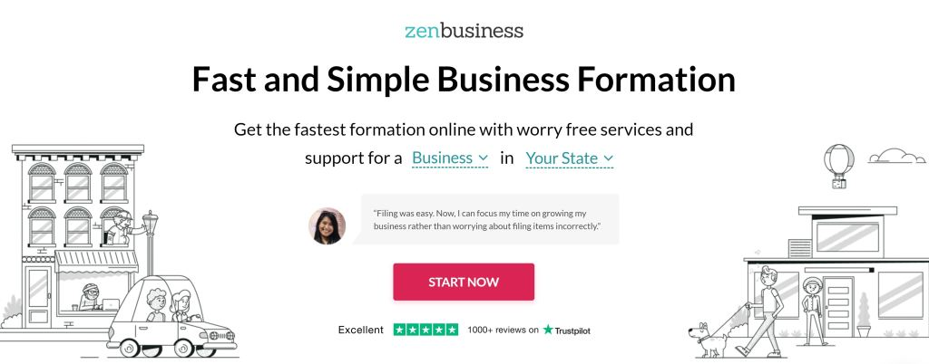 ZenBusiness Front Page