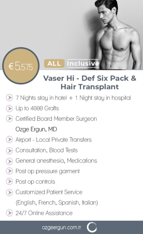 Vaser Liposuction Six Pack & Fue Hair Transplant Package