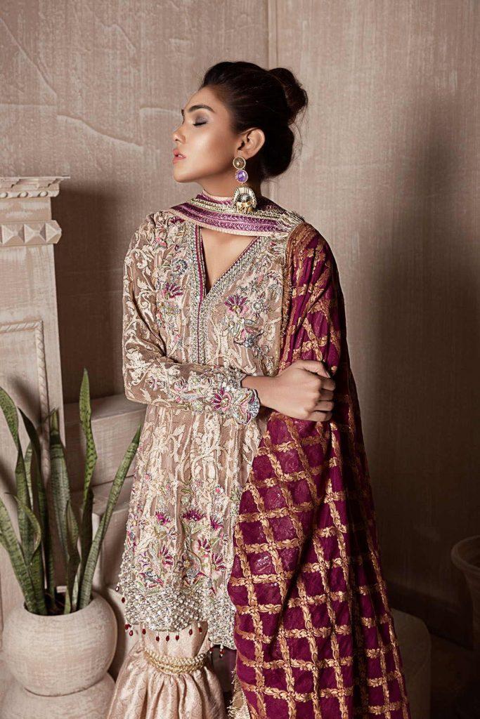 Hand Embroidery Peplum Top with classic work of Resham and Jewel Stone this Pakistani Mehndi Dress by Sana Abbas