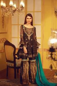 Banarsi Mehndi Outfit by Sarosh Salman with Maysuri Gharara Pants and Chiffon Dupatta