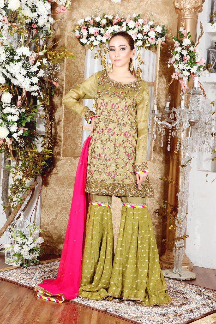 Beautiful Green Sharara by Sarosh Salman Mehndi Dresses Collection for Pakistani Women & Girls