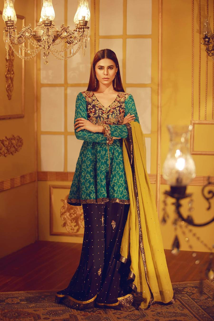 Mehndi Dresses by Sarosh Salman features this Khaadi Chiffon Peplum Top with Resham & Zardozi Work featuring a Palazzo Pants with Warm Olive Dupatta