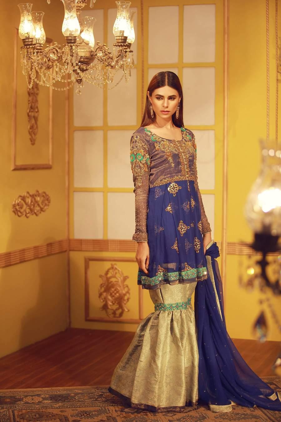 Royal Blue Zardozi Work Chiffon Peplum Mehndi Dress by Sarosh Salman paired with Jamawar Gharara Pants in Mint Color and Pure Chiffon Dupatta