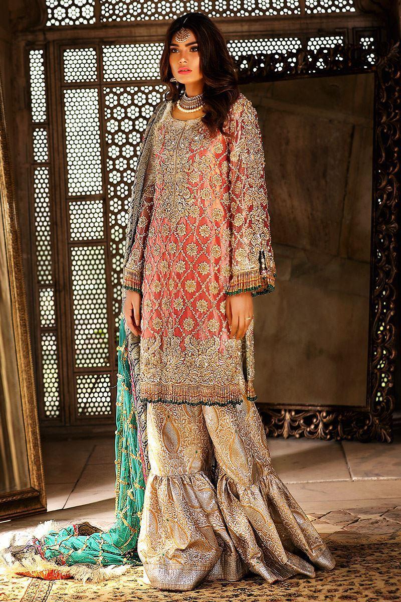 Damask Gharara Mehndi Suit by Annus Abrar