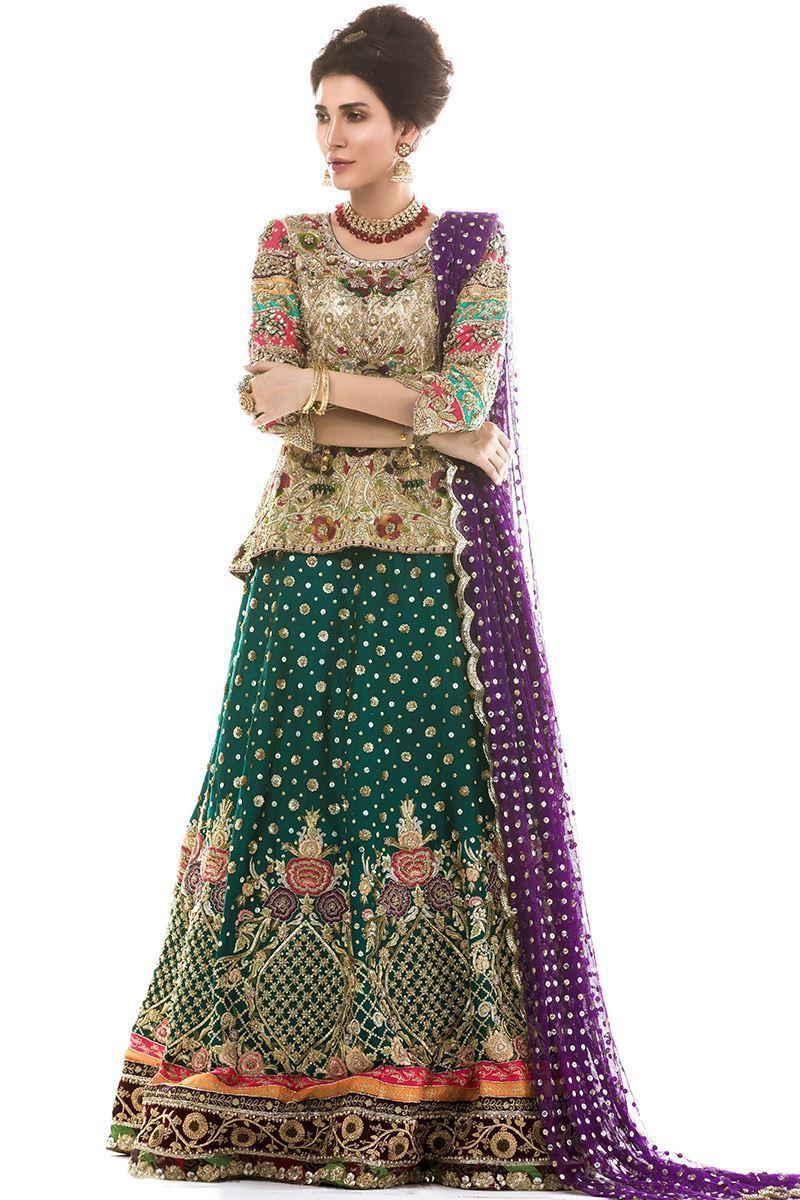 Green Mehndi Lehenga for a Traditional Pakistani Bride