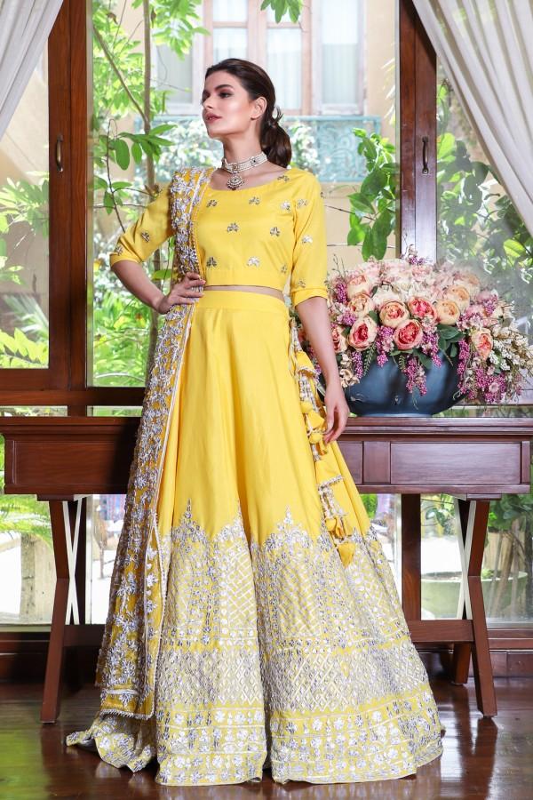 Yellow Mehndi Lehenga for girls