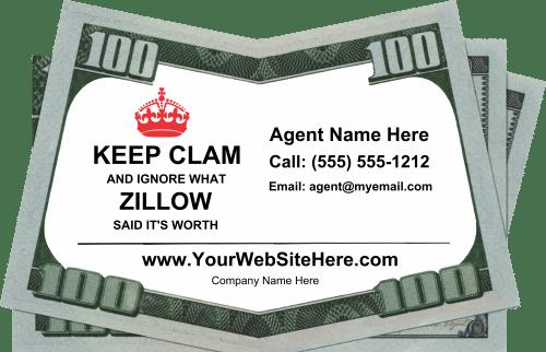 real estate drop card idea - keep calm dont listen to zillow