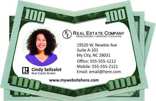 Money Drop Business Card for Real Estate Agents and Brokers