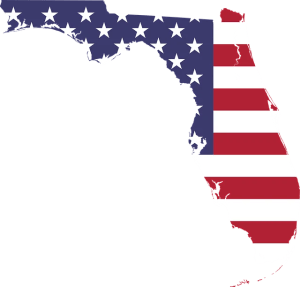 Florida map and the American flag.