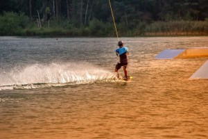 A wakeboarder