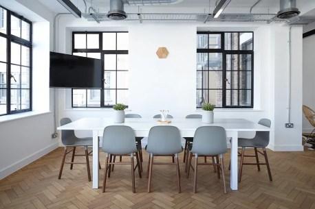 A contemporary dining room.