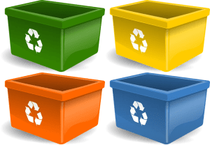 Plastic bins with recycle signs.
