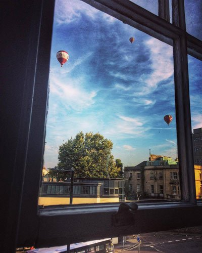 balloons from Bristol window
