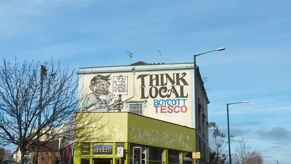 think local boycott tesco sign