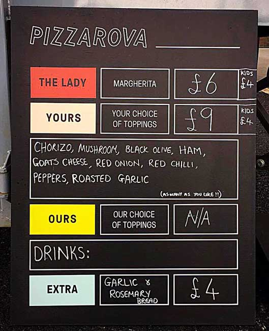 pizzarova menu