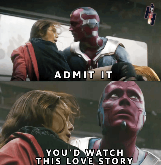 Love story of vision and scarlet witch