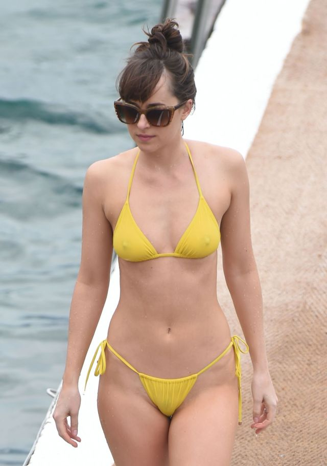 dakota johnson yellow bikini
