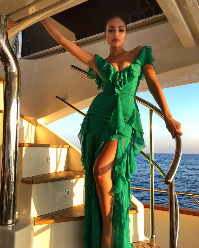 Olivia Culpo Hot in Green