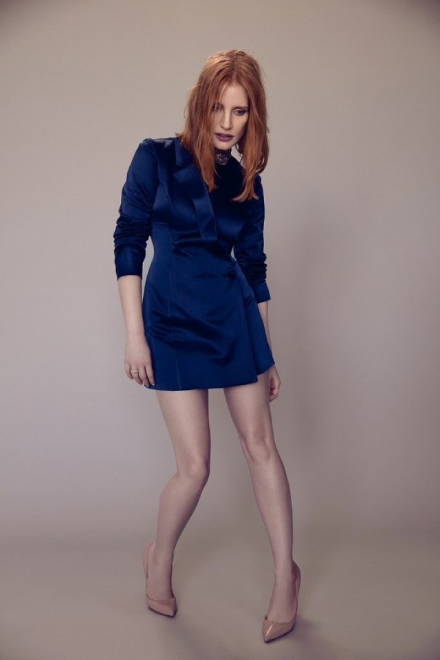 Jessica Chastain Poses in Blue Suit Jacket