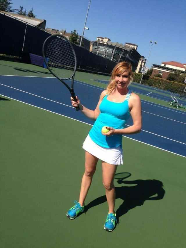 Kari Byron playing Tennis