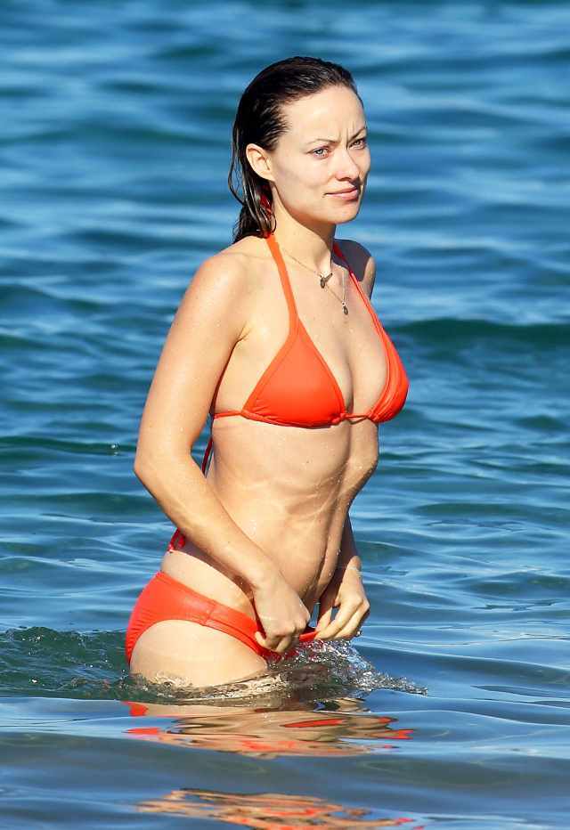olivia wilde orange bikini