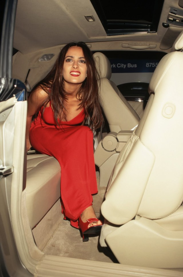 salma hayek red dress