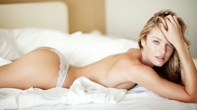 Candice Swanepoel on Bed