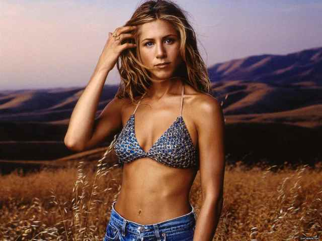 Jennifer Aniston on Blue Bikini