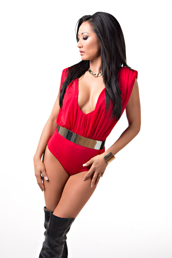 Gail Kim sexy clevage in red