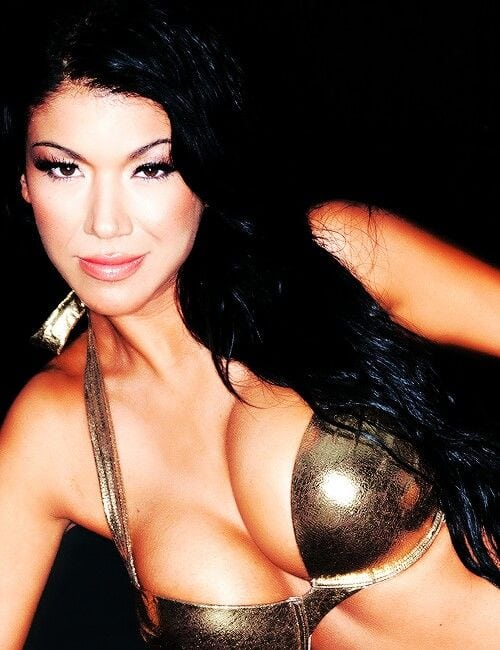 Rosa Mendes Sexy Big Boobs Pictures in Golden Bikini