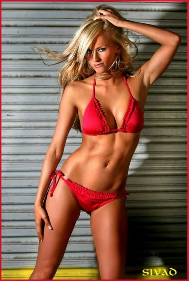 Summer Rae Sexy Boobs Pictures in Red Bikini