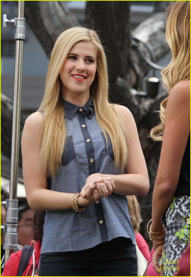 Disney actress Caroline Sunshine is interviewed on 'Extra' in Los Angeles, Ca