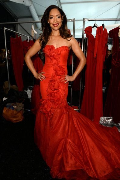 Gina Torres on Red Gown