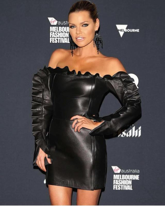 Sophie Monk Hot in Leather Dress