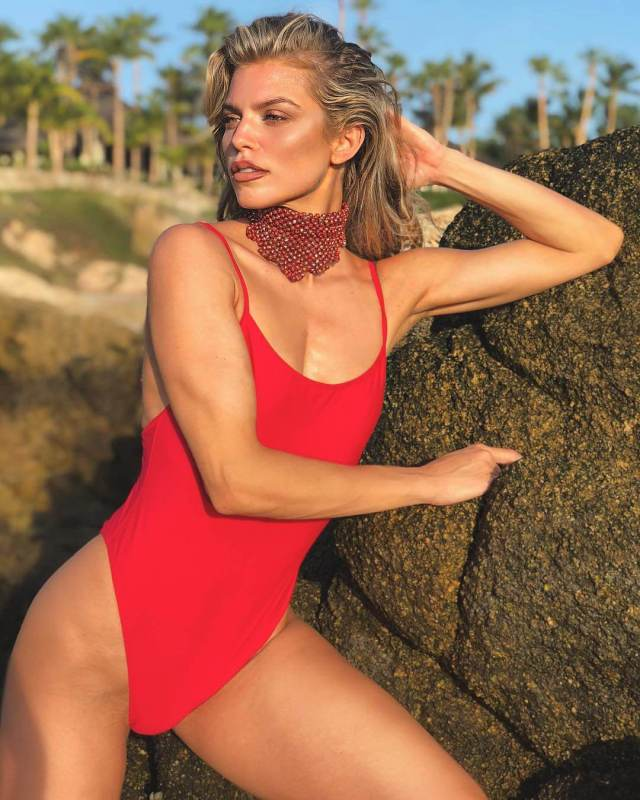 annalynne mccord red swimsuit