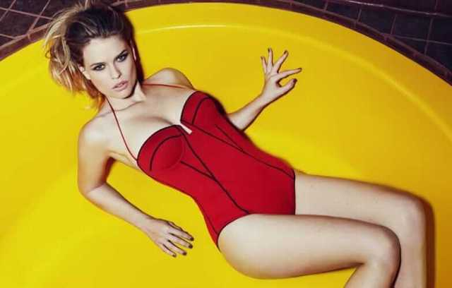Alice Eve Hot in Red Swimming Costume