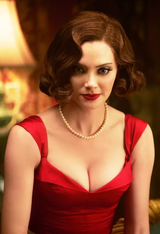 April Bowlby Sexy Boobs Pictures on Red Dress