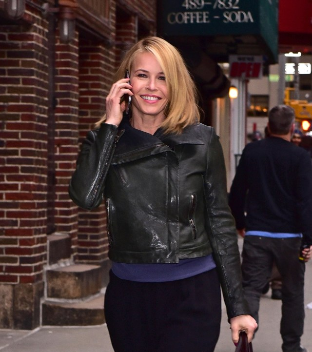 Chelsea Handler Hot in Leather Jacket