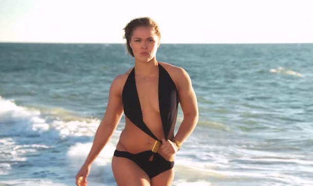 Ronda Rousey Sexy Boobs Pictures on Black Lingerie