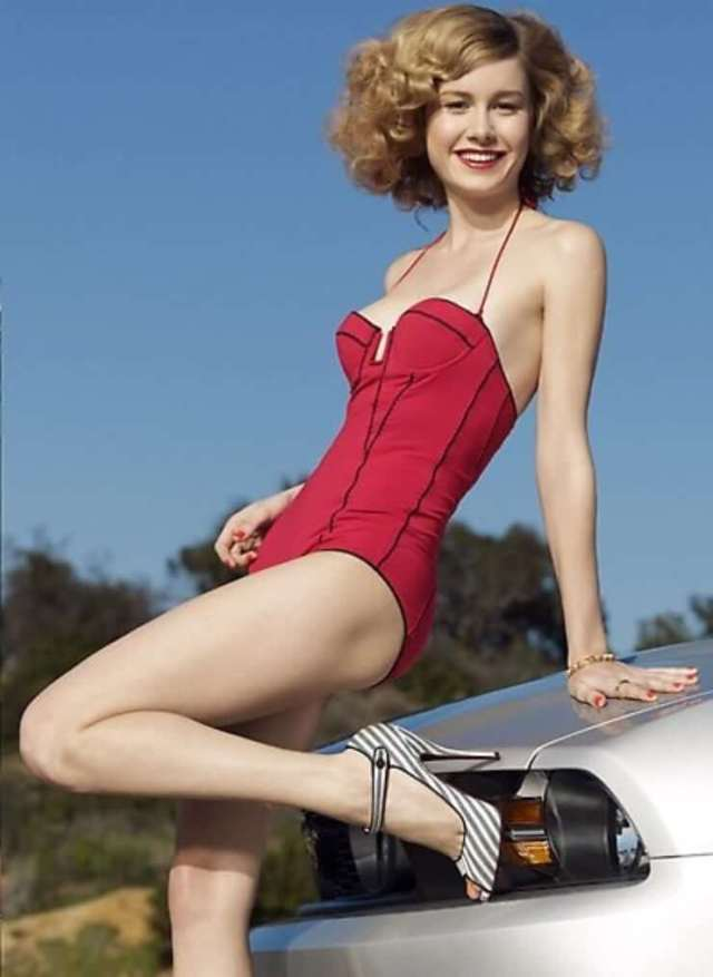 Brie Larson Hot in Red Short Dress