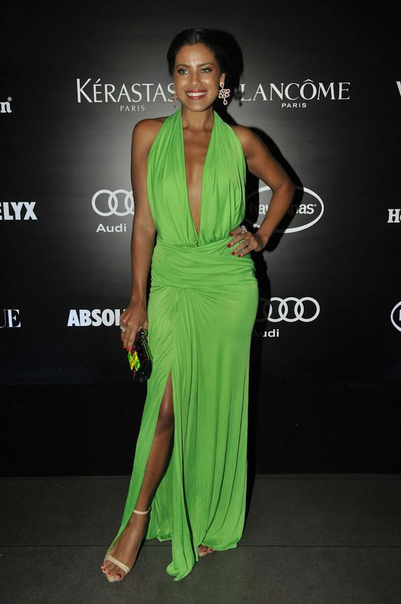 Ildi Silva Hot in Green Dress