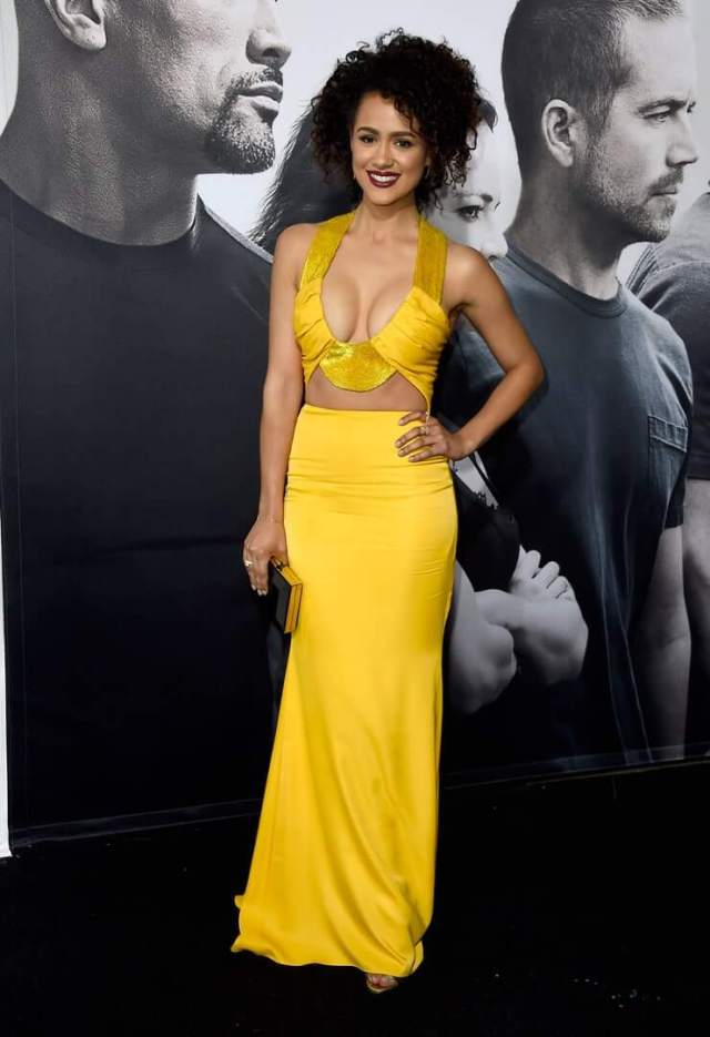 Nathalie Emmanuel long yelow dress