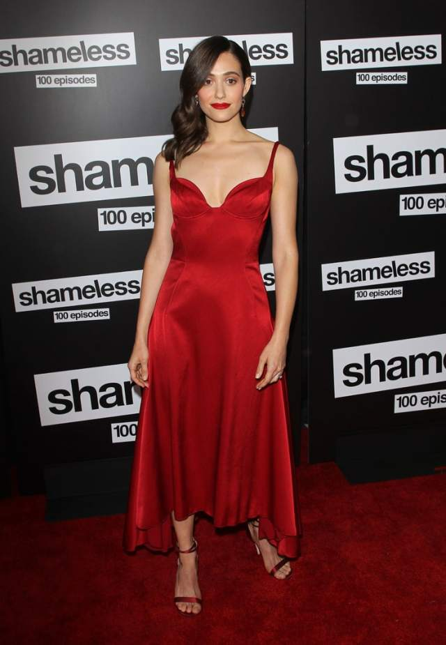 Emmy Rossum red dress with sexy boobs