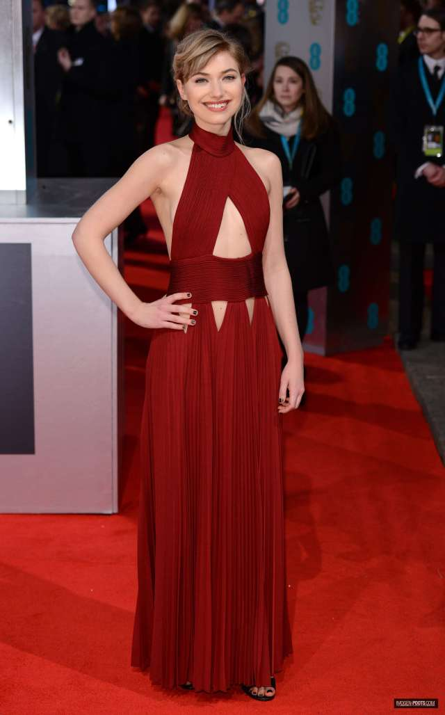 Imogen poots sexy long red dress