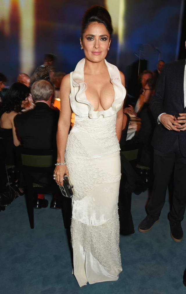 salma hayek long white dress