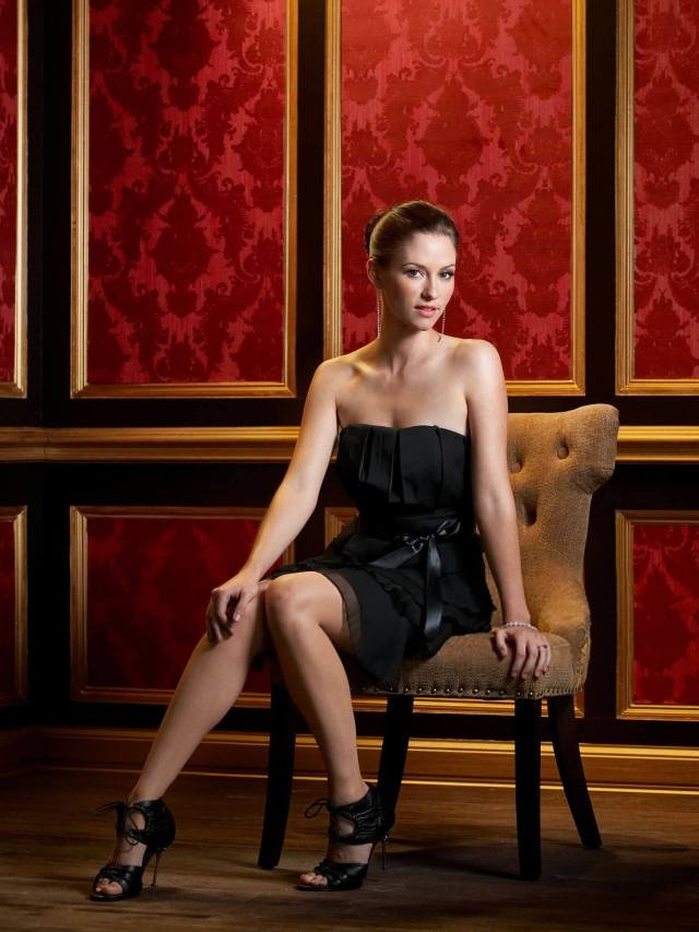 Chyler-Leigh black dress