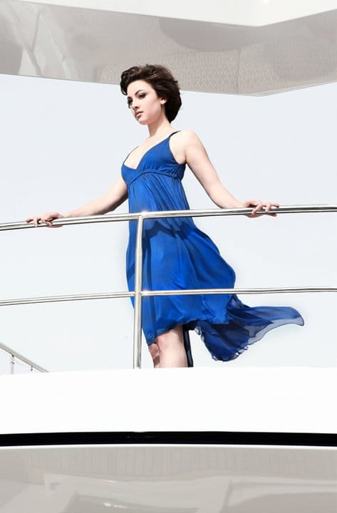 Leah Gibson blue dress