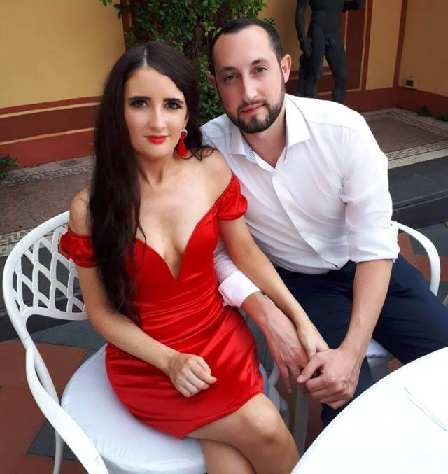Leah O'Rourke sexy red dress