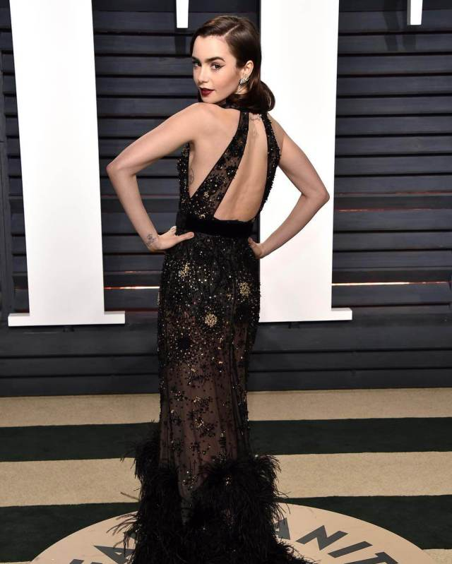 Lily Collins hot cleavage